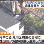 【荒川区】鈴木カツエ夫の亡骸を自宅に放置そこから見える夫婦の深さ